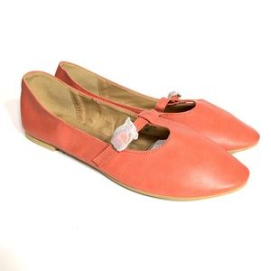 Chase & Chloe Women's Orange Ballet Flats Loafers